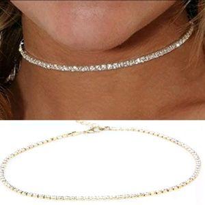 sparling Rhinestone choker gold adjustable chain